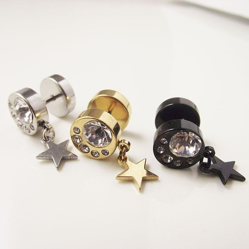 2 Piece 2016 Gold Stainless Steel Star Moon Stud Earring Punk CZ Crystal Rock Earrings Men Women Gift Body Piercing Jewelry