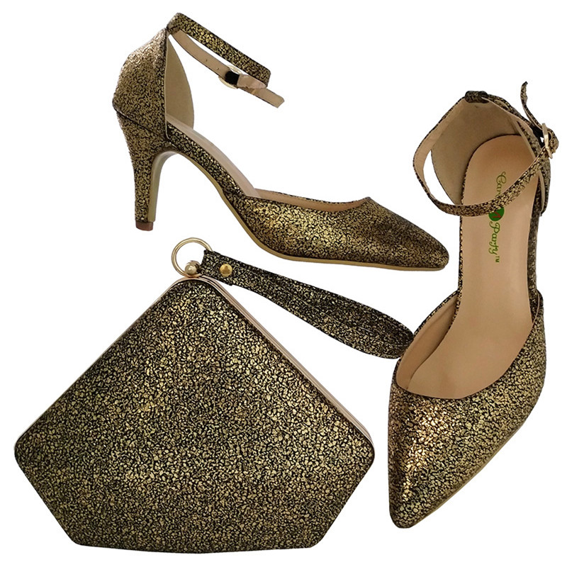 где купить African Shoe And Bag Set To Match High Quality Italian Shoes Shoes And Matching Bags Women Shoe High Heels BCH-30 дешево