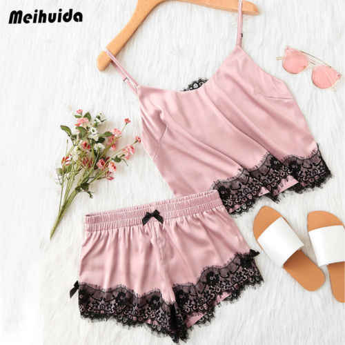 2PCs Summer Women Sexy Pajamas Sleeveless Lace Tops Shorts Sleepwear Deep V  Sling Lingerie Ladies Clothes 61764bd1a