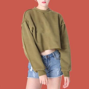 Plain Oversized Hoodie Solid Poleron Mujer 2019 Kawaii Streetwear Women Short Sweatshirt Crop Top Cute Pullover Hoodie Punk Rock drop shoulder raw hem rips crop hoodie