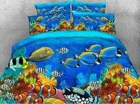 3D Sea дети рыбы Утешитель Ocean Постельные принадлежности набор одеяло пододеяльник простыни белье покрывала super king size Queen twin 5 шт.