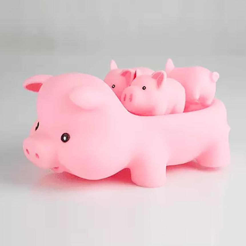Mummy & Baby Rubber Race Squeaky Pig Family Bath Toy Kid Game Toys Z811