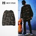 PROVERGOD Rua Hip Hop Kanye Estilo Completo Manga Camuflagem Militar Camo T Shirt Clássico Tees Casual Skates Roupas S-3XL