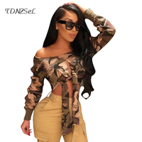Women Sexy Long Sleeve Skew Collar Lace Up Camouflage Crop Tops Spring Autumn Bandage Hollow Out