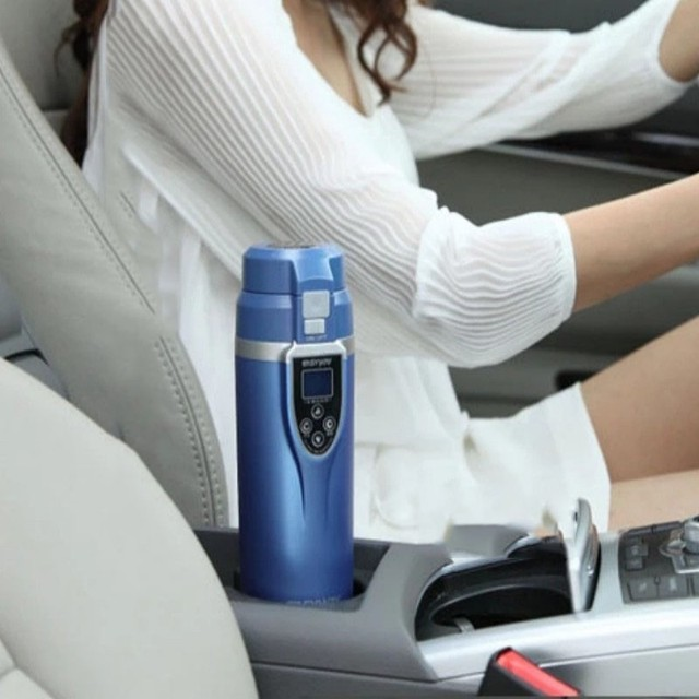 Cbj Top Quality 12v 24v Car Heater Cup Best Gift Led 350ml Abs Stainless Steel Electric Heating Hot Water Coffee Tea