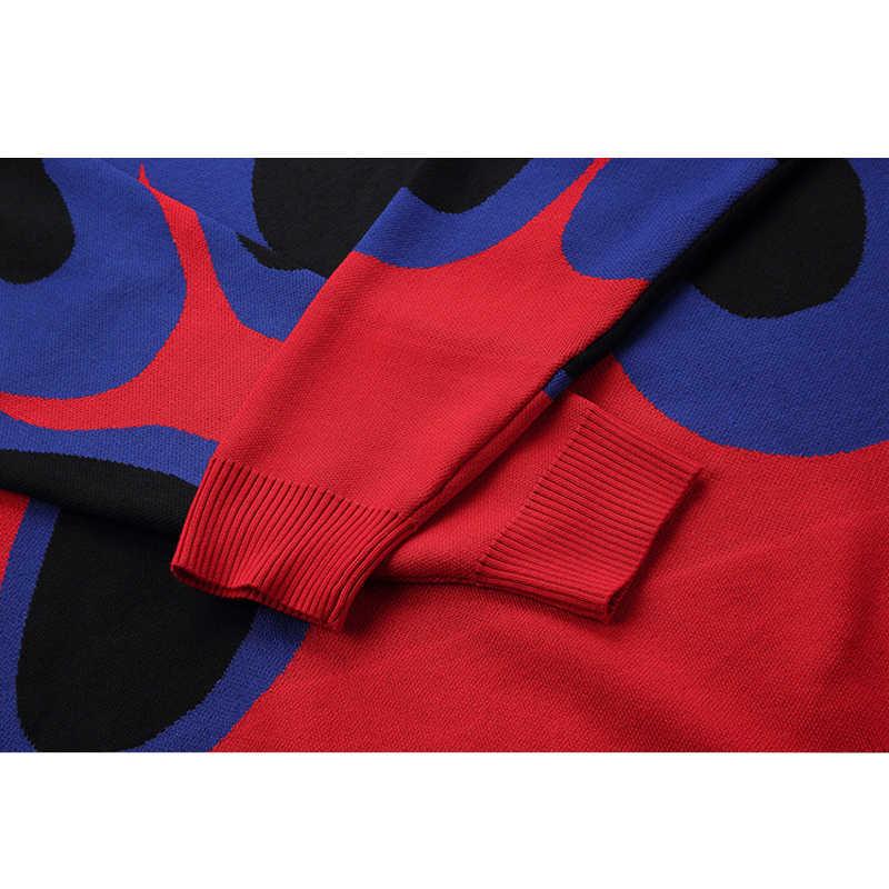 Ciemna ikona płomień sweter męski 2019 sweter zimowy luźny styl męskie swetry Hip Hop sweter Streetwear odzież