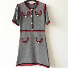 Urumbassa women's knitting dress 2018 spring runways high quality slim A-line dress British style sweater dress