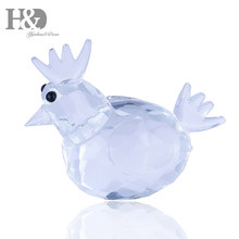 H&D Clear Crystal Rooster Mini Crystal Glass Animal Collectible Figurine Paperweight Home Decoration Creative Gift(China)