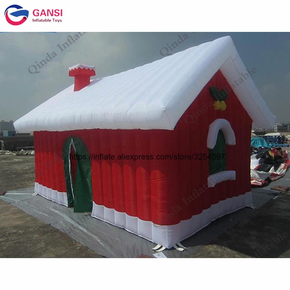 Festival decoration inflatable christmas santa grotto house,3.8*3.2*2.7m Inflatable Christmas booth tent outdoor christmas decoration inflatable santa claus 20ft high 6m high factory direct sale bg a1188 toy