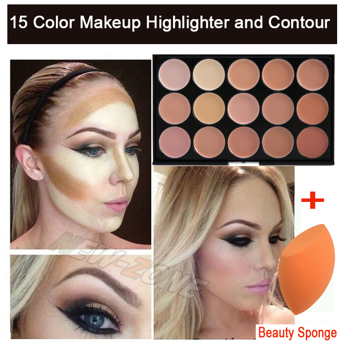 Pro 15 Color Cream Makeup Face Contour Kit Highlight Concealer Palette Bronzer with Gift Blender Sponge Beauty Cosmetic Set
