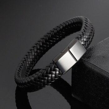 f4c5ea77b936 Pulsera de cuero de acero inoxidable negro para hombre