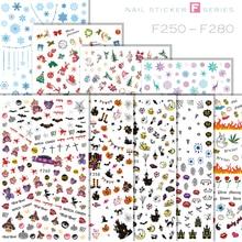 1 Sheet Halloween Pumpkin Nail Art Sticker Red Kiss Yellow Smile Stickers Christmas Series Snowflake of