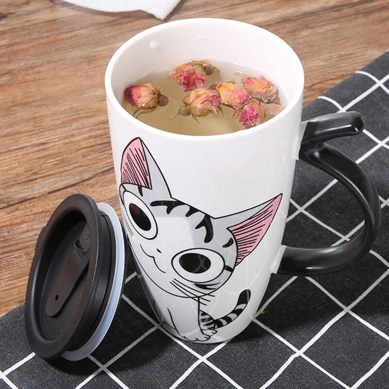 Image 3 - 600ml Cute Cat Ceramics Coffee Mug With Lid Large Capacity Animal Mugs creative Drinkware Coffee Tea Cups Novelty Gifts milk cup-in Mugs from Home & Garden