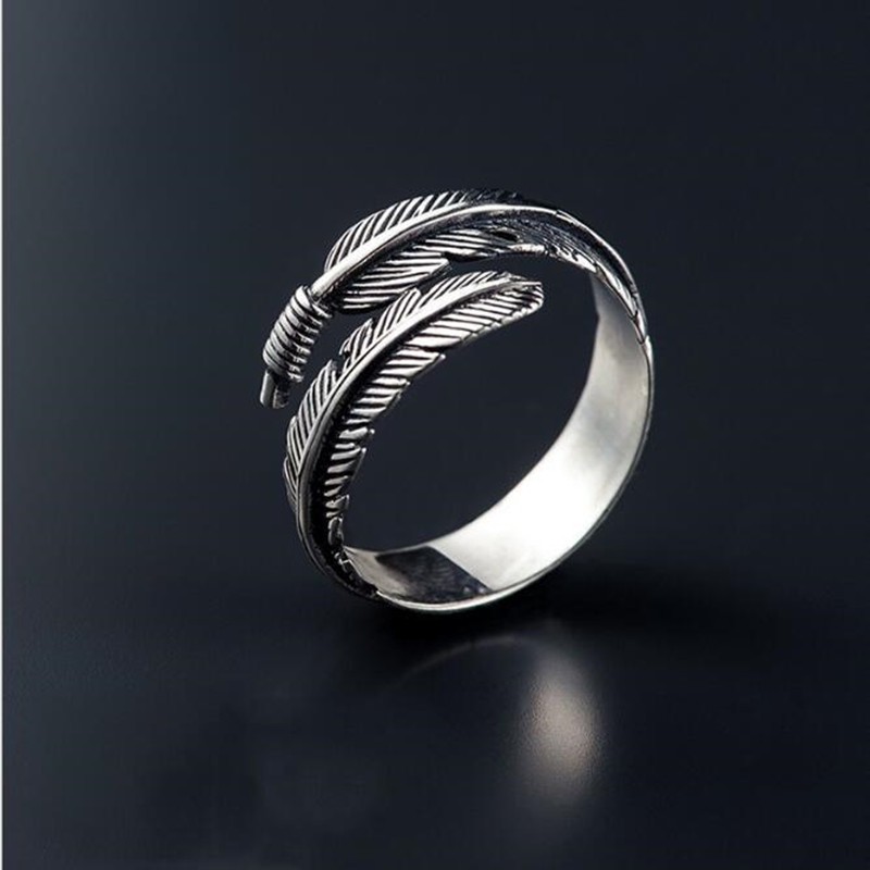 Retro High quality 925 Sterling Silver Jewelry Thai Silver Female Personality Feathers Arrow Open Ring SR239