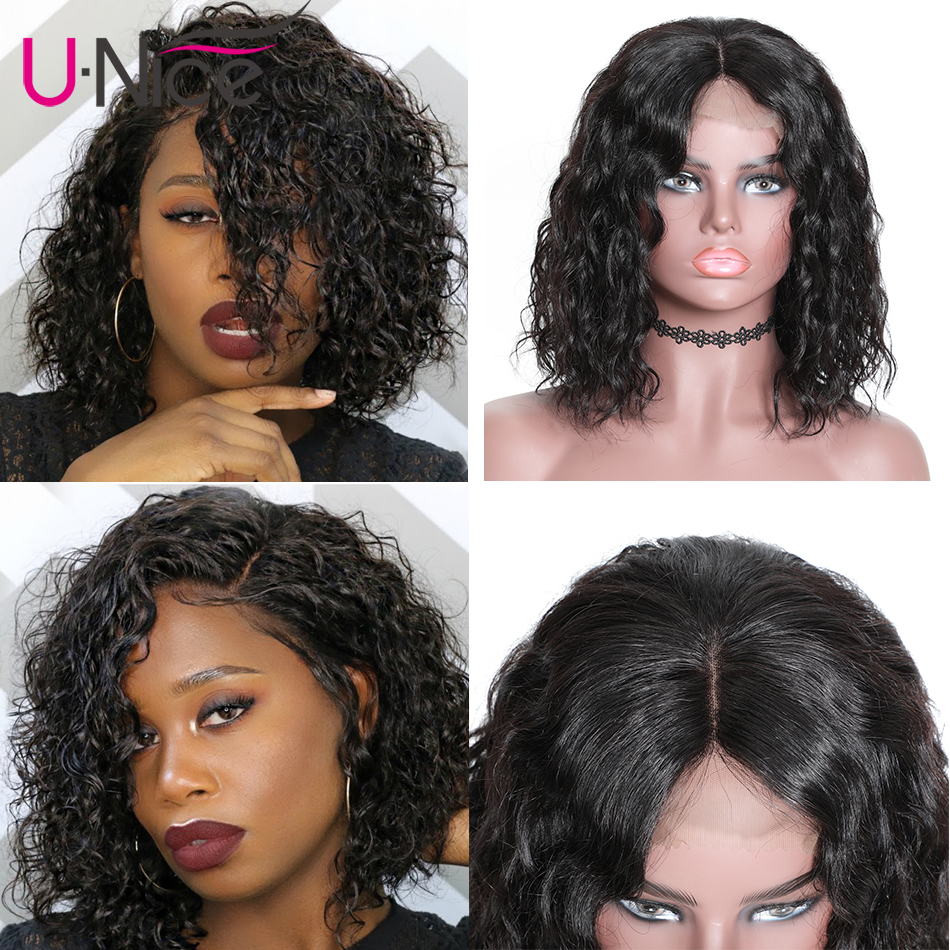Unice Hair 13x4 Short Lace Front Human Hair Bob Wigs Water Wave Brazilian Remy Hair Lace