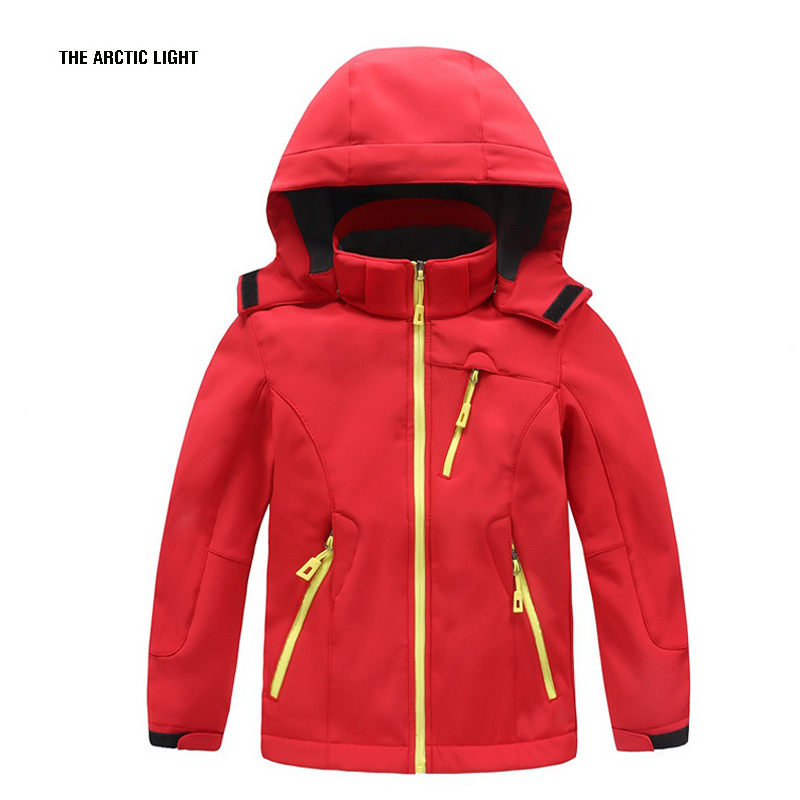 THE ARCTIC LIGHT Winter Boys Girls Waterproof Outdoor Soft shell Camping Jacket Kids Fleece Sport wear Windproof Hiking Coat outdoor hiking soft shell jacket male hiking suits soft shell fleece pant sport waterproof breathable warm fleece rain jacket