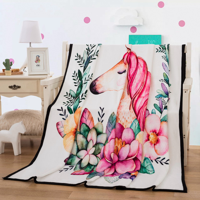 Cartoon Unicorn Throw Blanket