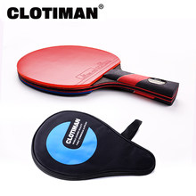 High quality carbon bat table tennis racket with rubber pingpong paddle short handle tennis table rackt long handle offensive(China)