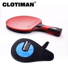 Raquette de tennis de table en fibre de carbone de haute qualité, avec pagaie de ping pong en caoutchouc, manche court, manche long