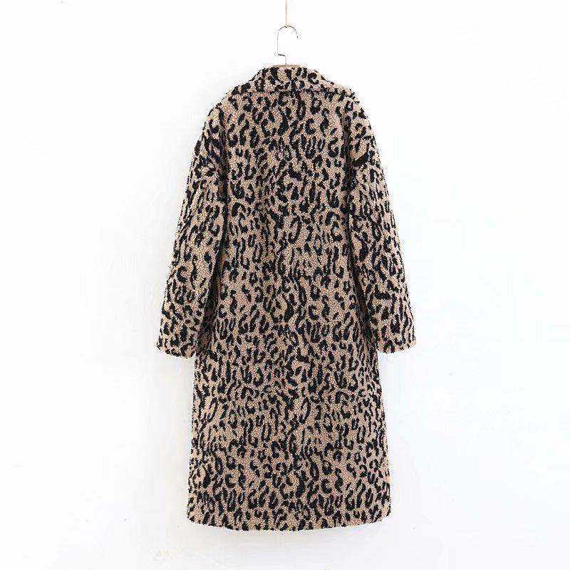 Laine Épais Long Vestes Manteau Manteaux Hiver Et Léopard Wt018 Femmes Automne Elegante Abrigos Femme Leopard Mujer 55f8qxprw