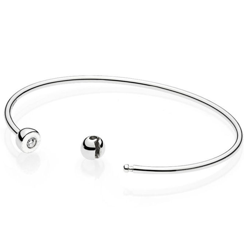Top Quality 925 Sterling Silver Bangle ESSENCE COLLECTION Polished Bead Open Bracelet Bangle Fit Bead Charm Pandora DIY JewelryTop Quality 925 Sterling Silver Bangle ESSENCE COLLECTION Polished Bead Open Bracelet Bangle Fit Bead Charm Pandora DIY Jewelry