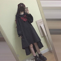 Puppet Doll Women Lolita Dress Vestido Full Sleeve Dresses Darkness Girl Black Punk Goth Gothic Vintage