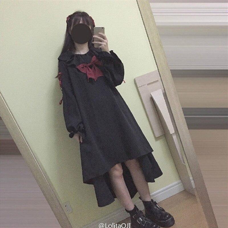 Marionnette poupée femmes Lolita robe Vestido manches longues robes noir fille Punk Goth gothique Vintage Cosplay une pièce robe