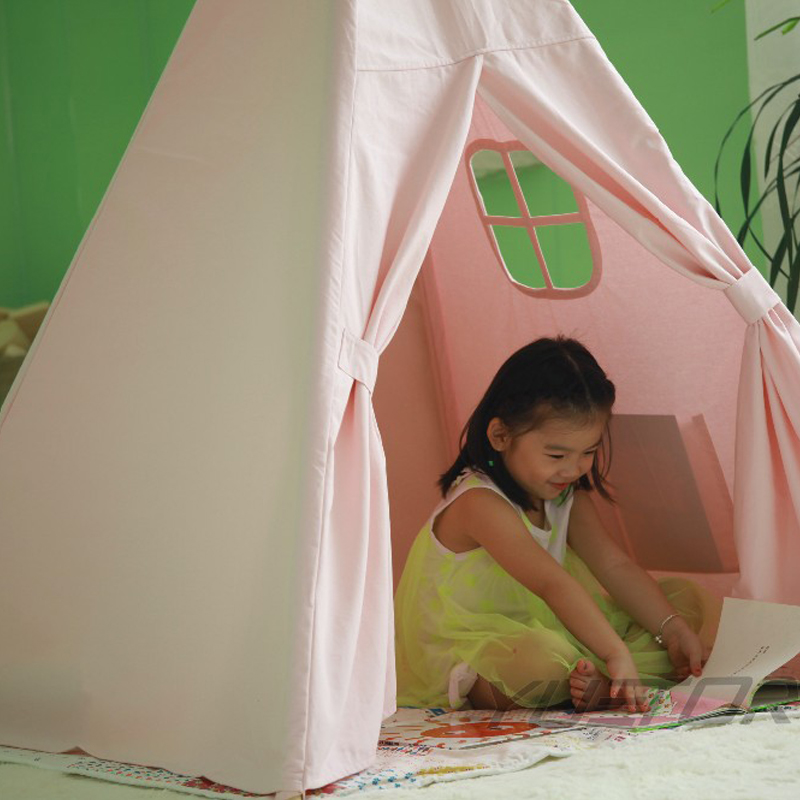 canvas children teepees kids tipi cotton tent white play house baby room playhouse indoor indian tents mushroom kids play hut pink blue children toy tent baby adventure game room indoor outdoor playhouse