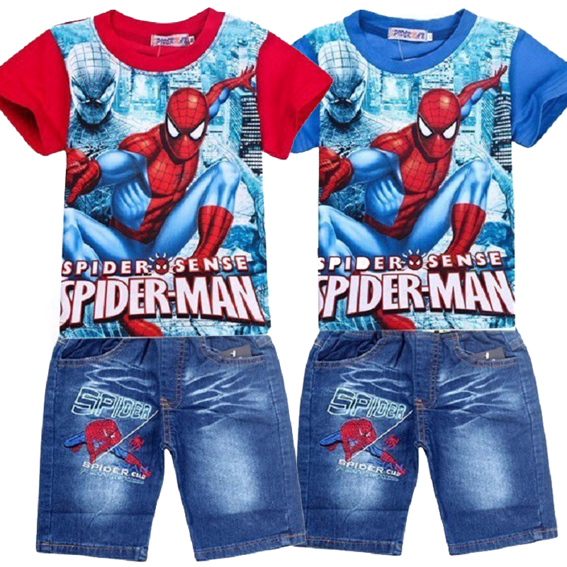 Children Boys Summer Spiderman Kids Clothing Sets Baby Kids T Shirt Jeans Shorts Toddler Boys Denim Pants Sports Clothes Set fashion baby girl t shirt set cotton heart print shirt hole denim cropped trousers casual polka dot children clothing set