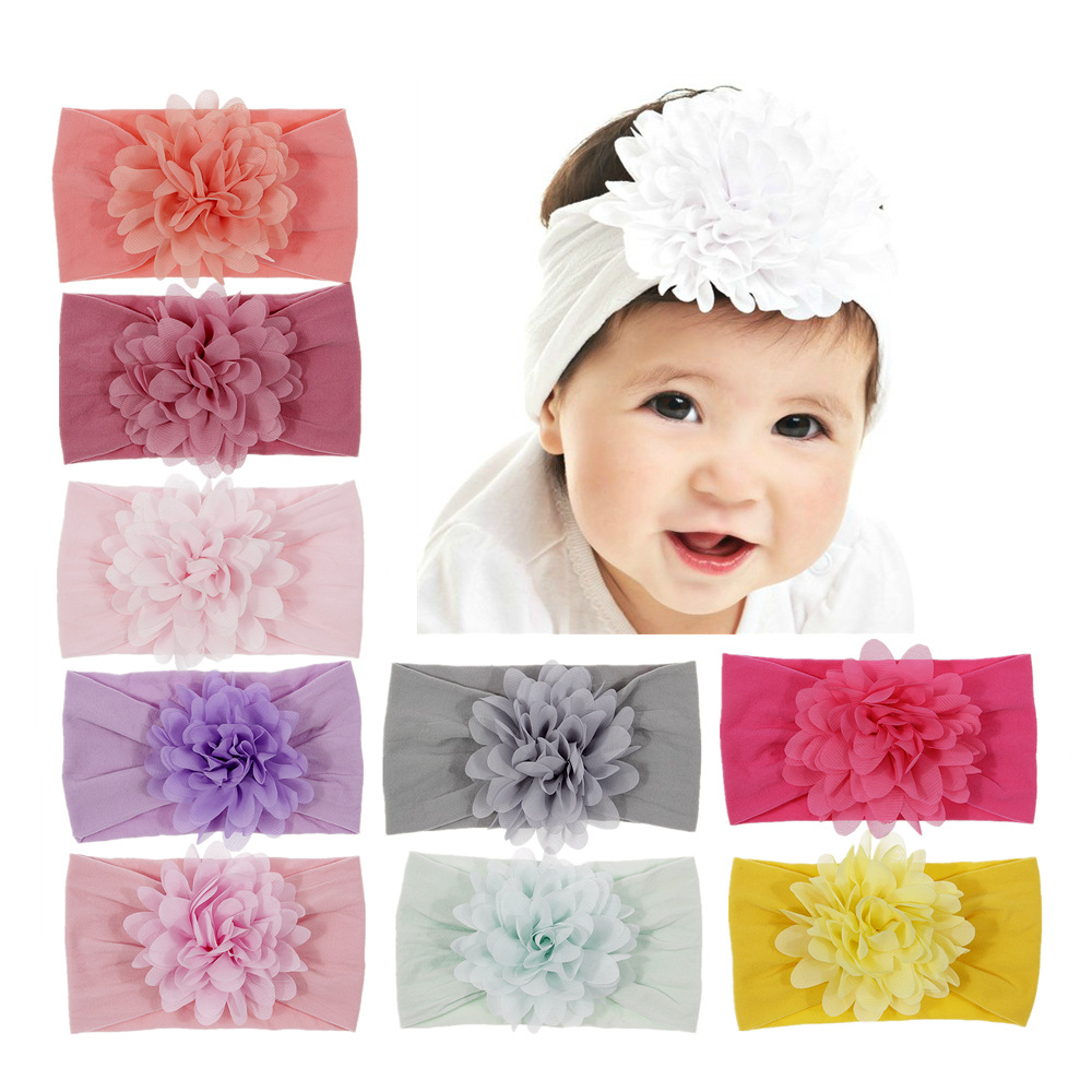 Nishine Baby Girl Big Chiffon Flower Headband Children Turban   Headwear   Stretchy Nylon Flower Wide Hair Band Accessories