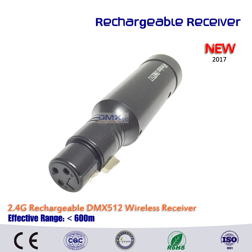 Free shipping New rechargeable 2.4GHz Wireless DMX512 XLR Receiver for Stage PAR Party Lighting