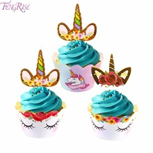 FengRise 24pcs Unicorn Cupcake Wrappers Birthday Cake Decoration Baby Shower Cake Toppers Unicorn Party Supplies Birthday Decor