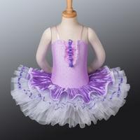 Toddler Kids Dance Dress Lilac Fairy Stage Clothes 8.10.12.14.16 Size Spandex Paillette Camisole Leotard Tutus CB1038
