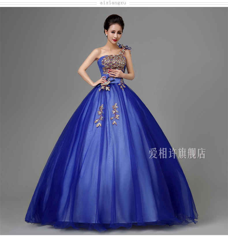 royal blue peacock luxury medieval dress ball gown siss princess Medieval Renaissance Gown queen Cosplay Victorian Belle ball
