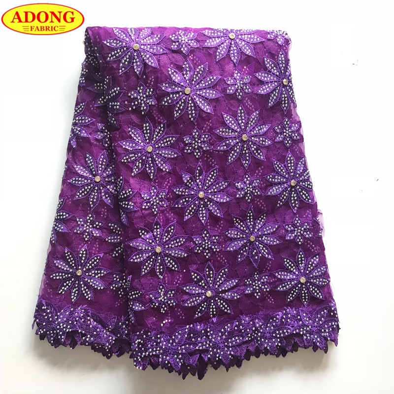 French Lace Fabric High Quality Embroidered Tulle Lace With Lots Stones 5 Yards pcs African Lace