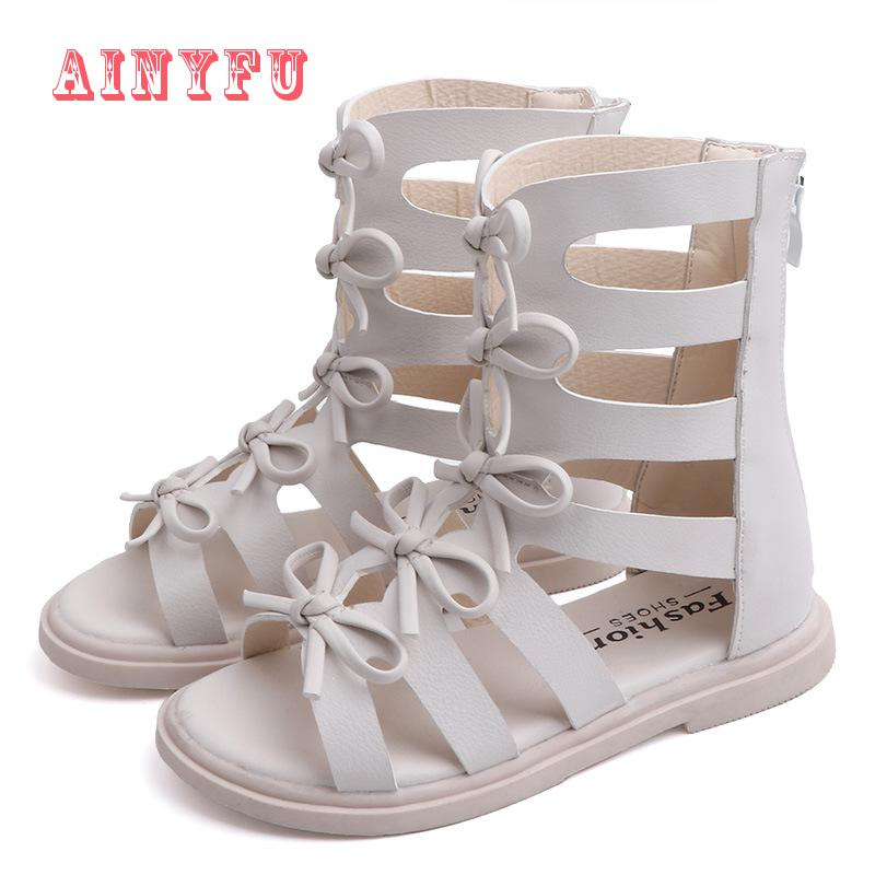 New Children's Roman High Help Sandals Shoes Girls Summer Sandals Fashion Princess Shoes Children Soft Bottom Beach Shoes A597