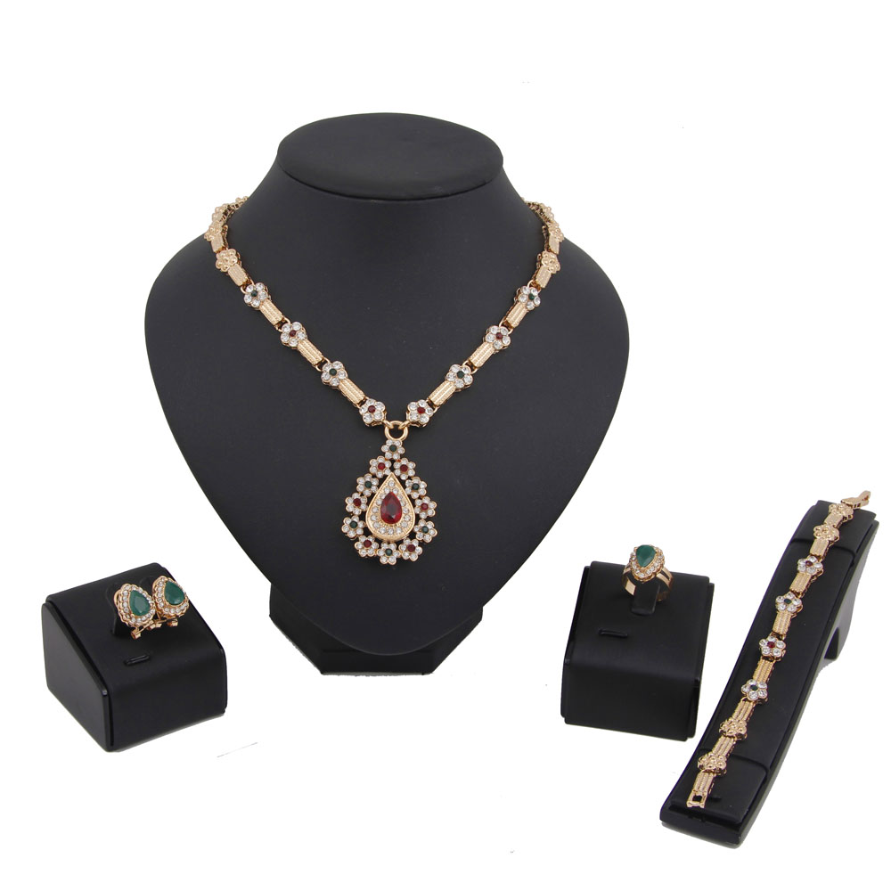 New Fashion Style 18k Gold Plated African Costume Jewelry Set Top Quality Crystal Bridal Wedding