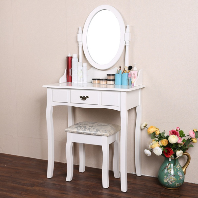 Homdox Elegant White Dressing Table Makeup Desk with Stool and Round Mirror Set Best Choice Bedroom Furniture #45-28