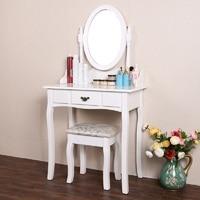 Homdox Zarif Beyaz Soyunma Tablo Makyaj Masası Dışkı ve Yuvarlak Ayna Set En İyi Seçim ile Yatak Odası Mobilya N40 *