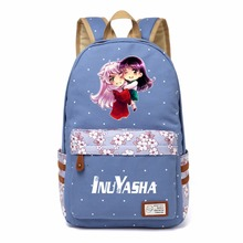 WISHOT Anime Inuyasha  Canvas bag Flower  backpack  Girls women Student Children School Bags Cartoon  travel Shoulder Bag kids