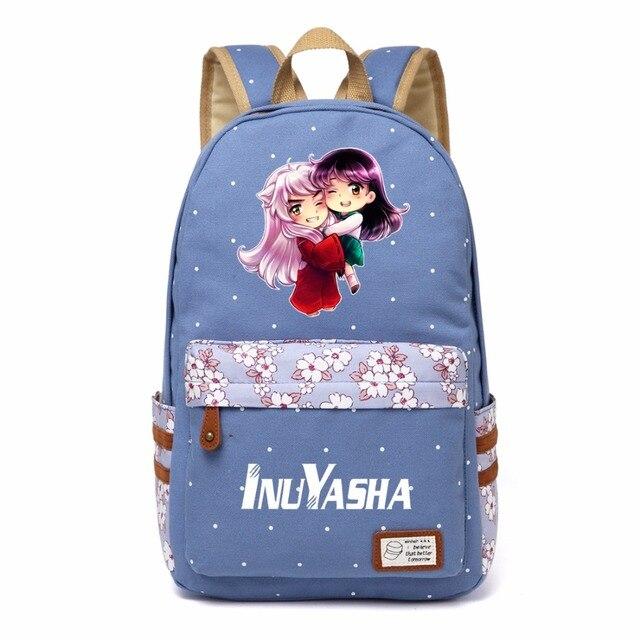 WISHOT אנימה אינויאשה פרח שקית בד תלמיד נשים בנות תרמיל ילדי ילקוטי ילדי תיק כתף נסיעות