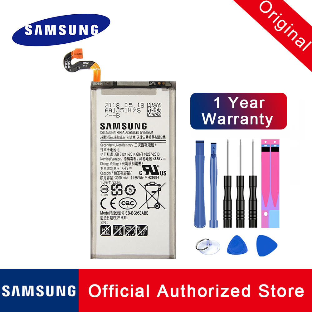 For Samsung Galaxy S8 Original Battery EB-BG950ABE SM-G9508 G9508 G9500 G950U Li-ion Replacement Batteria Akku
