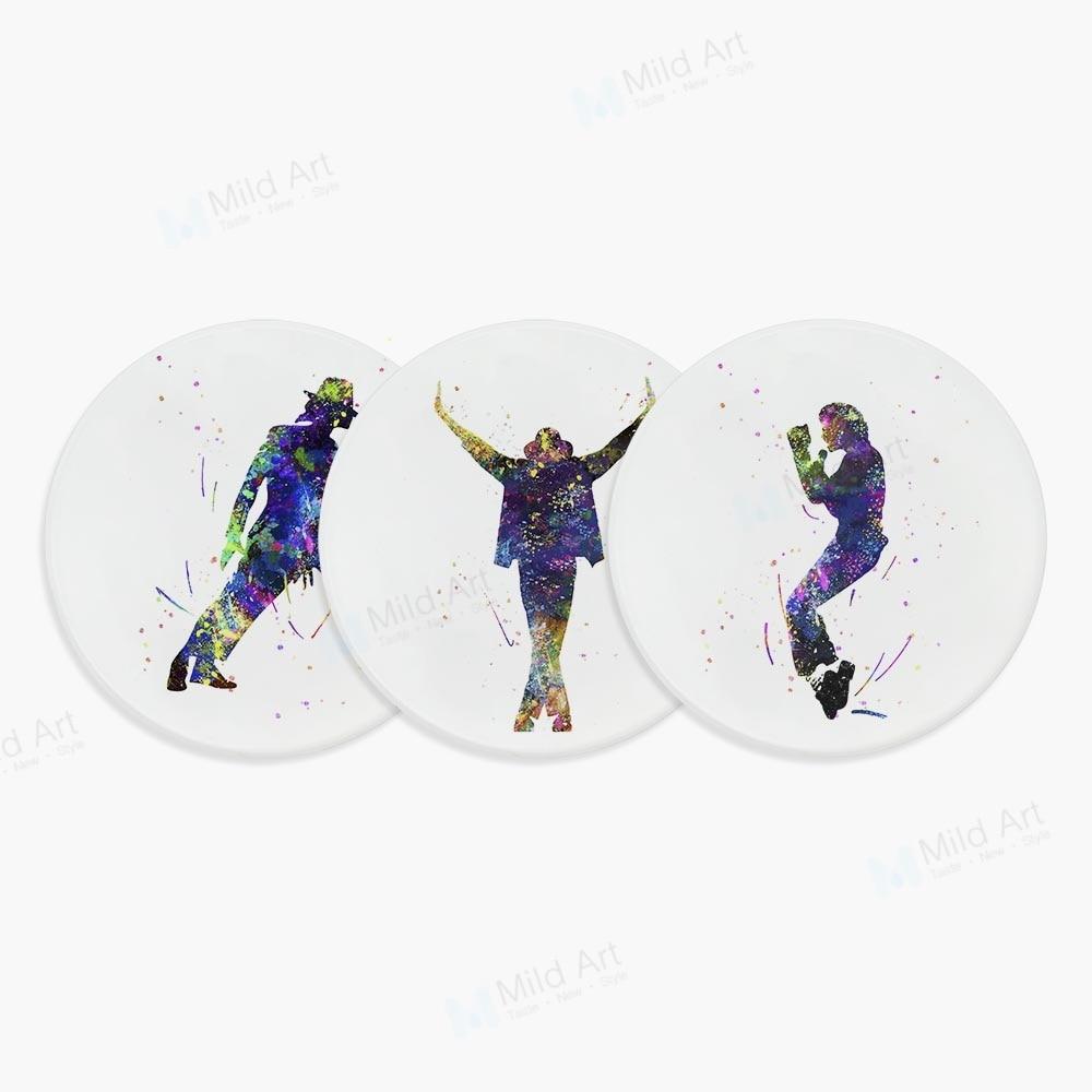 Watercolor Superstar Michael Jackson MJ Dance Figure Pop Art Ceramic Coaster Cool Gifts Cafe Bar Kitchen Accessories Pad Mat Set