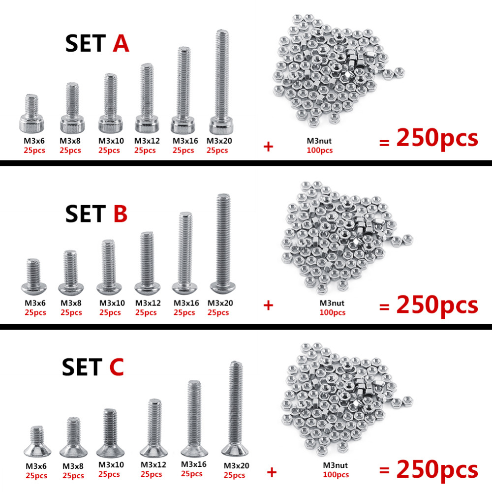 250pc/set M3 Cap/Button/Flat Head A2 Stainless Steel Hex Socket Screws Bolt With Hex Nuts Assortment Kit