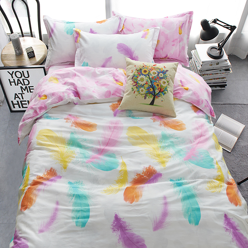 home bedding cotton set 100 colorful feather duvet cover set queen size bedclothes bed sheet