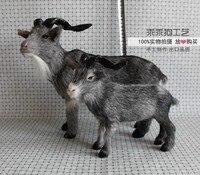 simulation cute gray goat model polyethylene&furs goat model home decoration props ,model gift d795