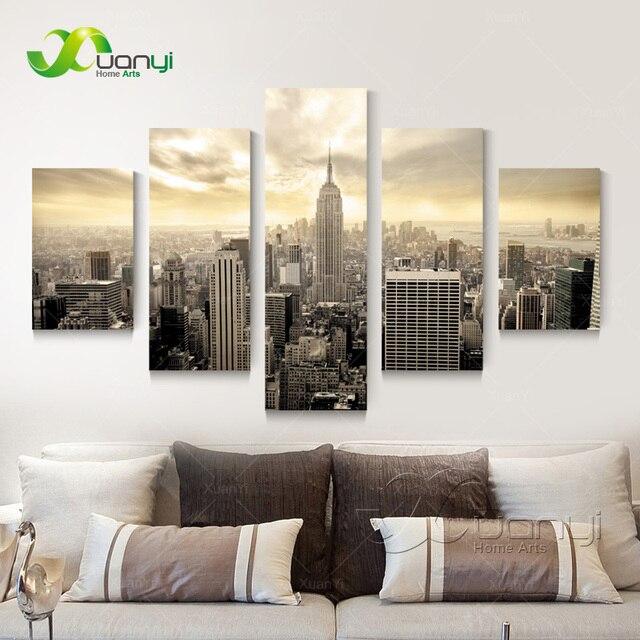 5 Panneaux New York Image Maison Peinture Sur Toile Decorative