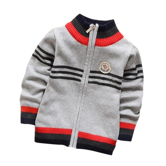 Children baby spring coat autumn and winter boys famous fashion design model zipper collar sweater, knit collar coat boy