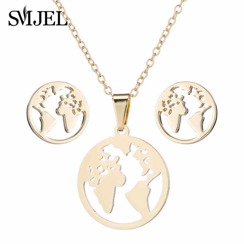 SMJEL Stainless Steel Jewelry Set Trendy World Map Necklaces Pendants Earth Day Gift bijoux femme Wanderlust Earrings Outdoor