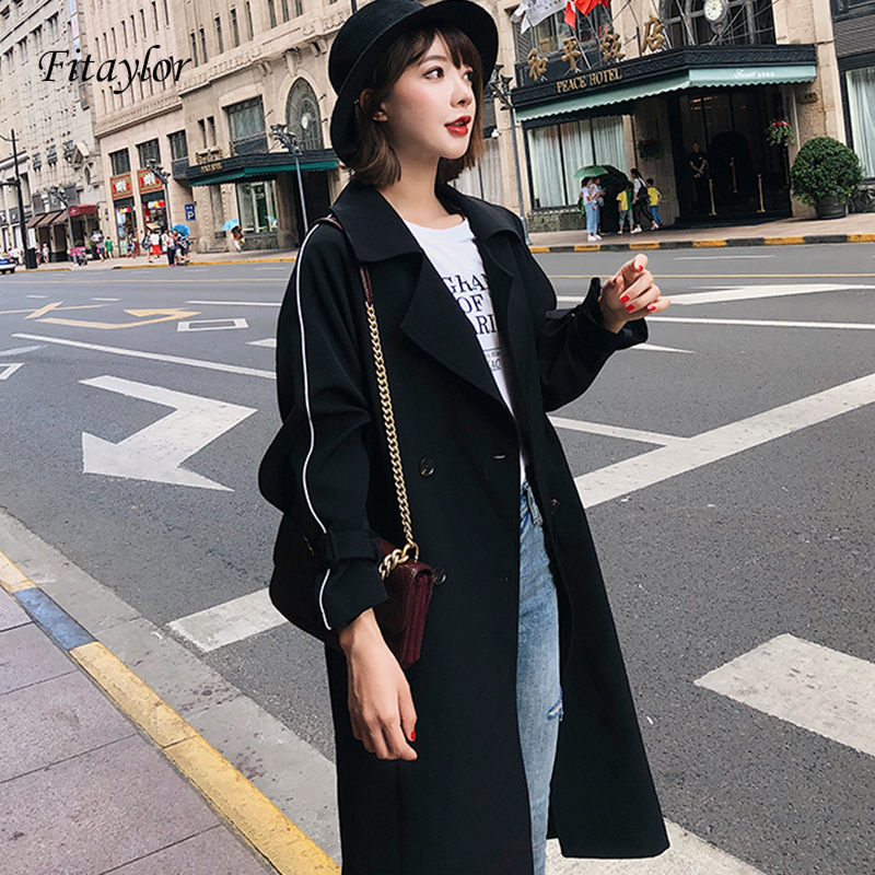 Fitaylor Style   Trench   Bur Brand Elegant Female Long Coat Autumn Fashion Casual Women's   Trench   Coat Long Outerwear Loose Clothes